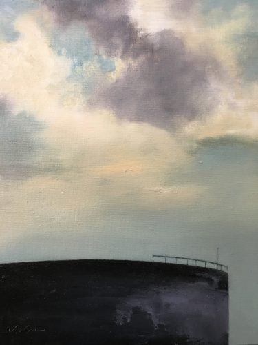 Landscape with Oil Tank (Lowell Skyscape series)