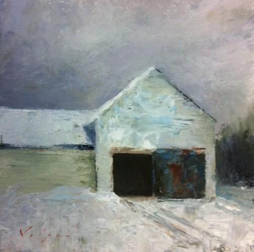 White Barn in Snow. 6x6