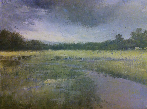Marsh with Passing Shower, Vermont. Oil on linen, 11x14